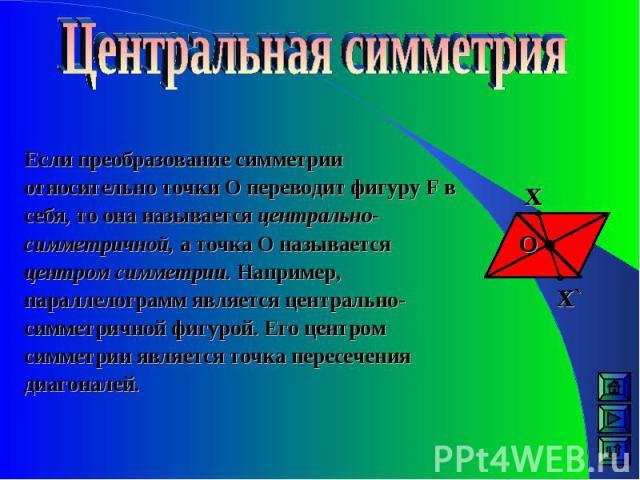 Если преобразование симметрии относительно точки О переводит фигуру F в себя, то она называется центрально-симметричной, а точка О называется центром симметрии. Например, параллелограмм является центрально-симметричной фигурой. Его центром симметрии…