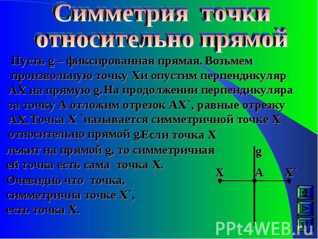 Очевидно что точка, симметрична точке Х`, есть точка Х. Пусть g – фиксированная прямая. Возьмем произвольную точку Х и опустим перпендикуляр АХ на прямую g. На продолжении перпендикуляра за точку А отложим отрезок АХ`, равные отрезку АХ. Точка Х `на…