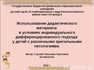 Государственное бюджетное дошкольное образовательное учреждение детский сад № 24