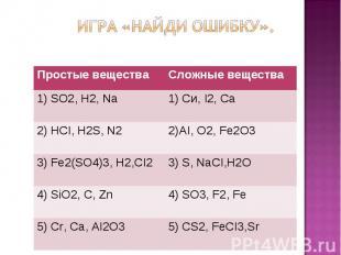 Простые вещества Сложные вещества 1) SO2, Н2, Na 1) Си, I2, Cа 2) НСI, Н2S, N2 2
