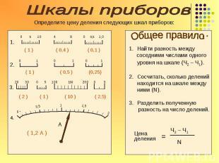 = Ч2 – Ч1 N Цена деления Найти разность между соседними числами одного уровня на