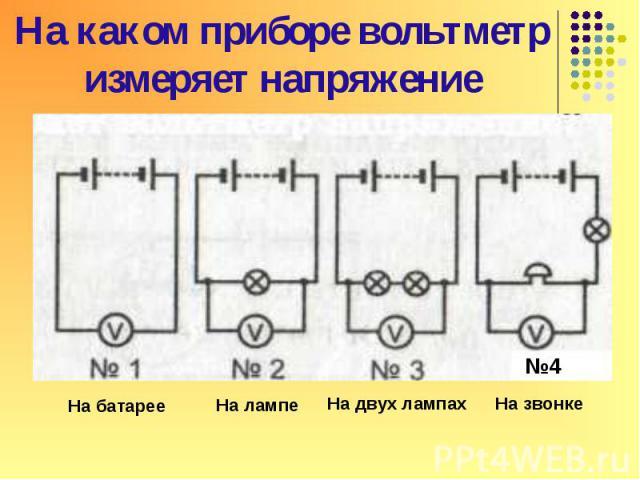 На какой схеме вольтметр правильно измеряет напряжение на лампочке?