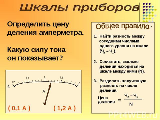 Расскажи о приборе Вольтметр Измеряет напряжение Включается параллельно «+» к «+» «-» к «-» Цена деления: 0,5В и 2В Условное обозначение
