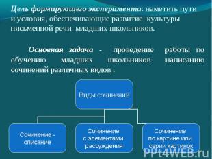 Цель формирующего эксперимента: наметить пути и условия, обеспечивающие развитие