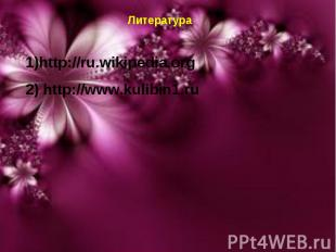 * * Литература 1)http://ru.wikipedia.org 2) http://www.kulibin1.ru