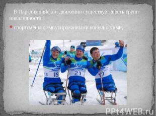 В Паралимпийском движении существует шесть групп инвалидности: спортсмены с ампу