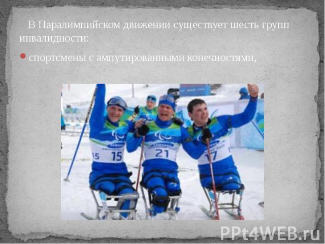 В Паралимпийском движении существует шесть групп инвалидности: спортсмены с ампутированными конечностями,
