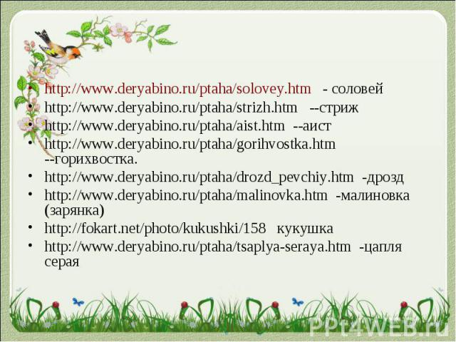 http://www.deryabino.ru/ptaha/solovey.htm - соловейhttp://www.deryabino.ru/ptaha/solovey.htm - соловейhttp://www.deryabino.ru/ptaha/strizh.htm --стрижhttp://www.deryabino.ru/ptaha/aist.htm --аистhttp://www.deryabino.ru/ptaha/gorihvostka.htm --горихв…