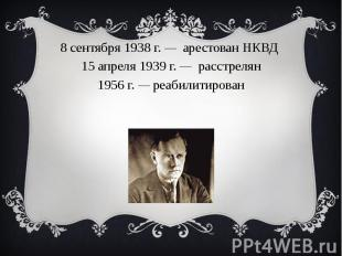 8 сентября1938г. — арестованНКВД15 апреля1939г. — расстрелян1956 г. — ре
