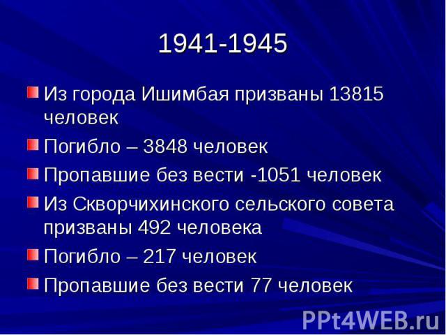 1941-1945Из города Ишимбая призваны 13815 человекПогибло – 3848 человекПропавшие без вести -1051 человекИз Скворчихинского сельского совета призваны 492 человекаПогибло – 217 человекПропавшие без вести 77 человек