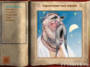 Кузнец ВакулаОксанаСолохаКазак ЧубЧёртПацюкХарактеристика героев