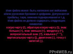 Имя файла может быть написано английскими и/или русскими буквами и цифрами. Допу