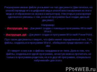 Расширение имени файла указывает на тип документа (фактически, на способ перевод