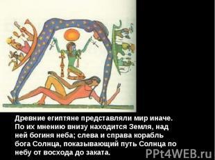 Древние египтяне представляли мир иначе. По их мнению внизу находится Земля, над
