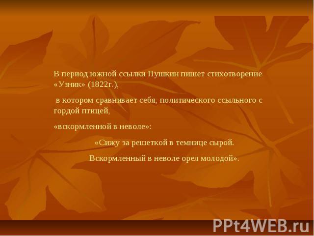 В период южной ссылки Пушкин пишет стихотворение «Узник» (1822г.), в котором сравнивает себя, политического ссыльного с гордой птицей,«вскормленной в неволе»:«Сижу за решеткой в темнице сырой.Вскормленный в неволе орел молодой».