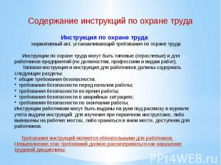 Инструкция по охране труда нормативный акт, устанавливающий требования по охран