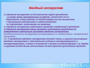 Вводный инструктаж1.1 Вводный инструктаж по безопасности труда проводится: - со