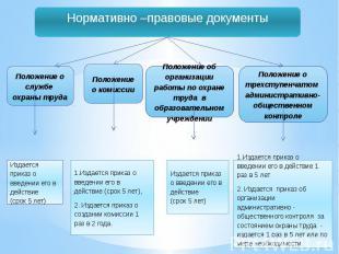 Нормативно –правовые документы1.Издается приказ о введении его в действие 1 раз