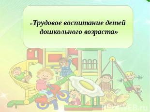 «Трудовое воспитание детей дошкольного возраста»