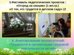 3.Фестиваль педагогических проектов :«Огород на окошке» (1 мл.гр.)«О тех, кто тр