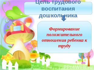 Цель трудового воспитания дошкольникаФормирование положительного отношения ребен