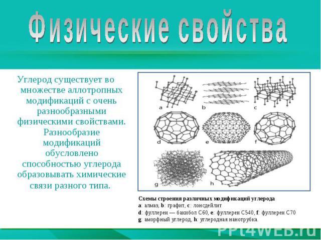 Физические свойстваУглерод существует во множестве аллотропных модификаций с очень разнообразными физическими свойствами. Разнообразие модификаций обусловлено способностью углерода образовыватьхимические связиразного типа