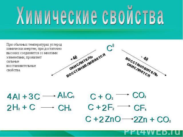 Химические свойстваПри обычных температурах углерод химически инертен, при достаточновысоких соединяется со многими элементами, проявляет сильные восстановительные свойства.