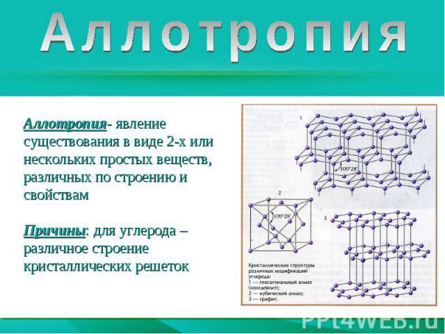 АллотропияАллотропия- явление существования в виде 2-х или нескольких простых веществ, различных по строению и свойствам Причины: для углерода – различное строение кристаллических решеток