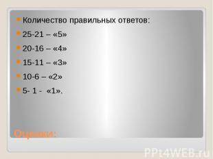 Оценки:Количество правильных ответов:25-21 – «5»20-16 – «4»15-11 – «3»10-6 – «2»