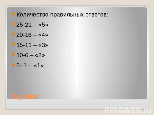 Оценки:Количество правильных ответов:25-21 – «5»20-16 – «4»15-11 – «3»10-6 – «2» 5- 1 - «1».