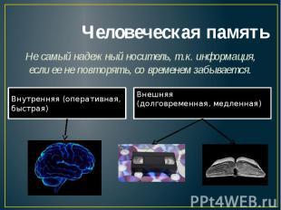 Человеческая памятьНе самый надежный носитель, т.к. информация, если ее не повто