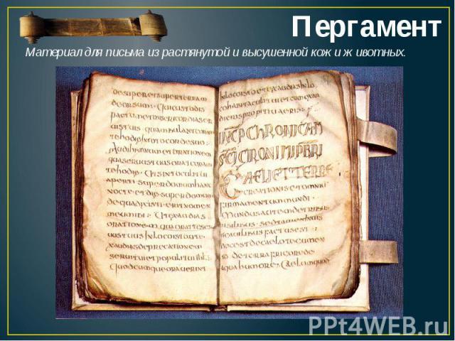 ПергаментМатериал для письма израстянутой и высушенной кожиживотных.