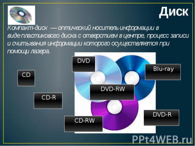 Компакт-диск—оптический носитель информациив видепластиковогодиска с отверстием в центре, процесс записи и считывания информации которого осуществляется при помощилазера.