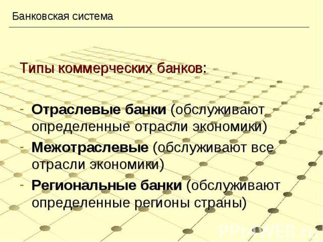 Типы коммерческих банков:Отраслевые банки (обслуживают определенные отрасли экономики)Межотраслевые (обслуживают все отрасли экономики)Региональные банки (обслуживают определенные регионы страны)