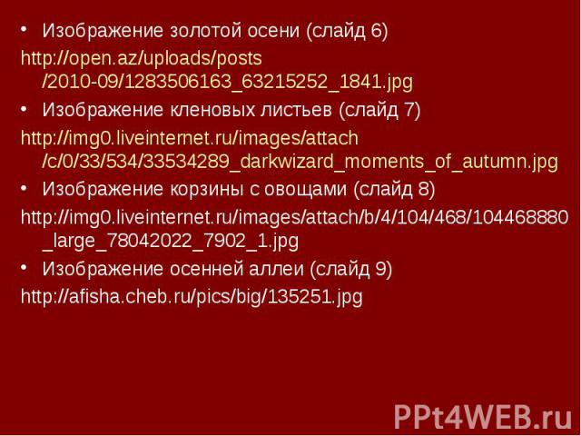 Изображение золотой осени (слайд 6)Изображение золотой осени (слайд 6)http://open.az/uploads/posts/2010-09/1283506163_63215252_1841.jpgИзображение кленовых листьев (слайд 7)http://img0.liveinternet.ru/images/attach/c/0/33/534/33534289_darkwizard_mom…