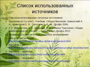 А) Список использованных печатных источниковА) Список использованных печатных ис