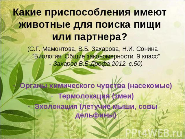 Какие приспособления имеют животные для поиска пищи или партнера?(С.Г. Мамонтова, В.Б. Захарова, Н.И. Сонина