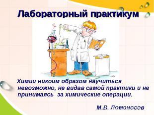 Лабораторный практикумХимии никоим образом научиться невозможно, не видав самой