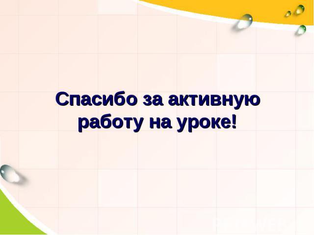 Спасибо за активную работу на уроке!