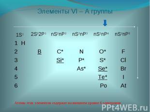Атомы этих элементов содержат на внешнем уровне 6 электронов