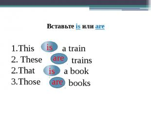 This 2. TheseThatThosea traintrainsa bookbooksВставьте is или are