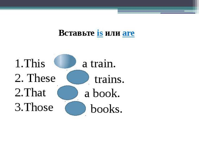This 2. TheseThatThosea train.trains.a book.books.