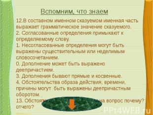 12.В составном именном сказуемом именная часть выражает грамматическое значение