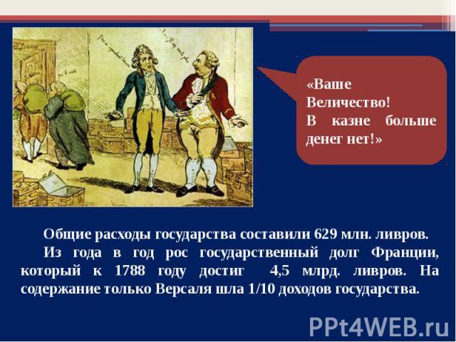 Общие расходы государства составили 629 млн. ливров. Из года в год рос государственный долг Франции, который к 1788 году достиг 4,5 млрд. ливров. На содержание только Версаля шла 1/10 доходов государства.