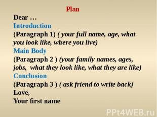 PlanDear …Introduction(Paragraph 1) ( your full name, age, what you look like, w
