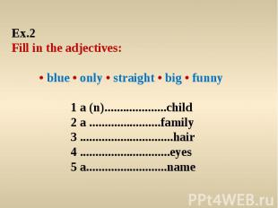 Ex.2 Fill in the adjectives: • blue • only • straight • big • funny 1 a (n).....