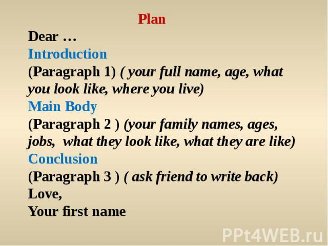 PlanDear …Introduction(Paragraph 1) ( your full name, age, what you look like, where you live)Main Body(Paragraph 2 ) (your family names, ages, jobs, what they look like, what they are like) Conclusion(Paragraph 3 ) ( ask friend to write back)Love,Y…