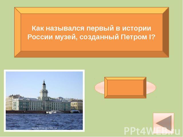 Как назывался первый в истории России музей, созданный Петром I?