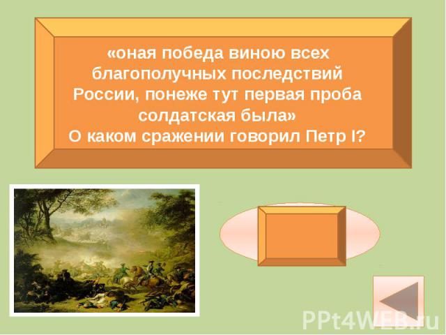 «оная победа виною всех благополучных последствий России, понеже тут первая проба солдатская была»О каком сражении говорил Петр I?