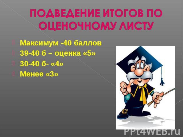 ПОДВЕДЕНИЕ ИТОГОВ ПО ОЦЕНОЧНОМУ ЛИСТУМаксимум -40 баллов 39-40 б – оценка «5»30-40 б- «4»Менее «3»